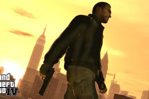 Grand Theft Auto IV; man with gun in city