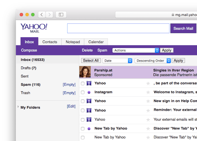 yahoo mail basic screenshot