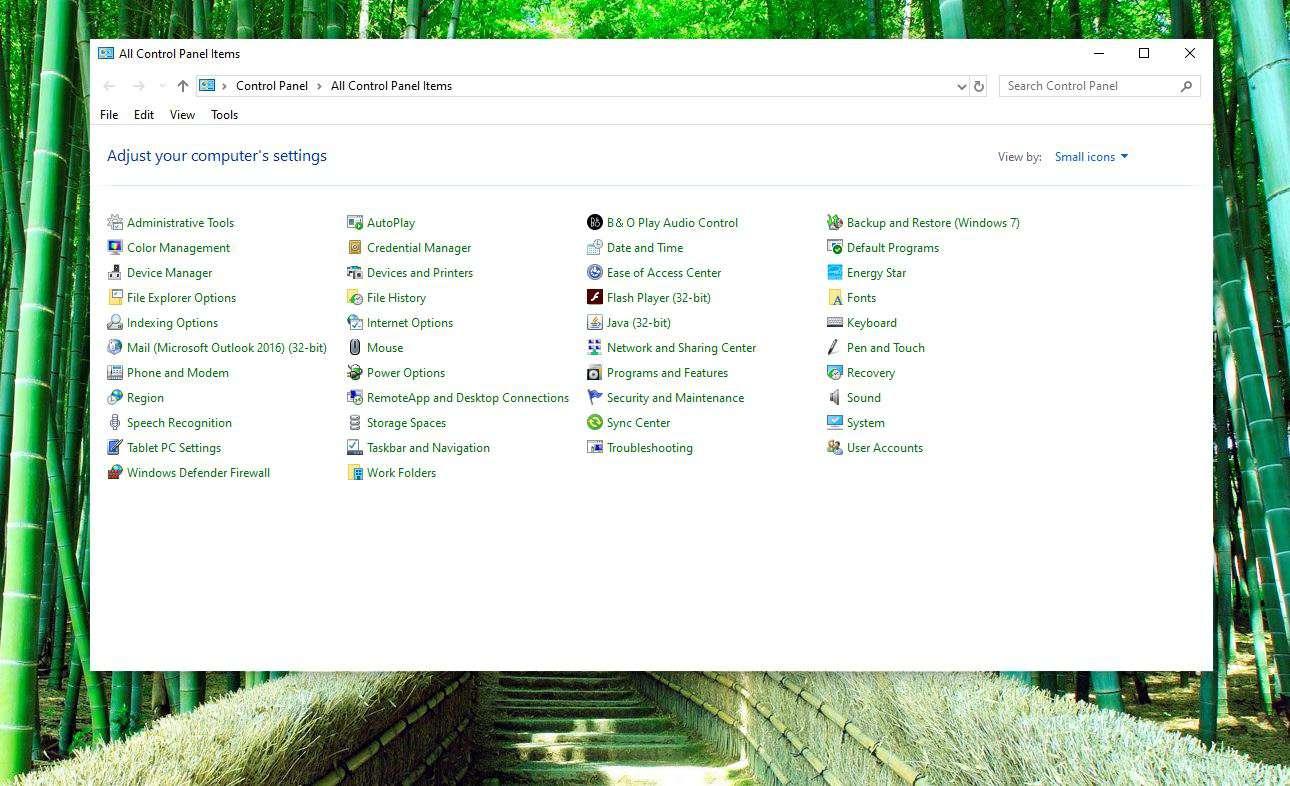 Screenshot of Control Panel
