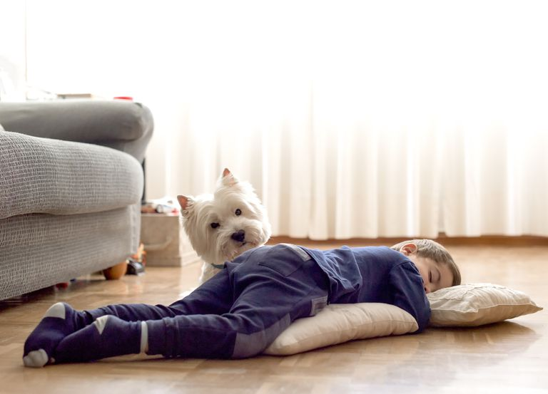boy sleeping on floor with dog
