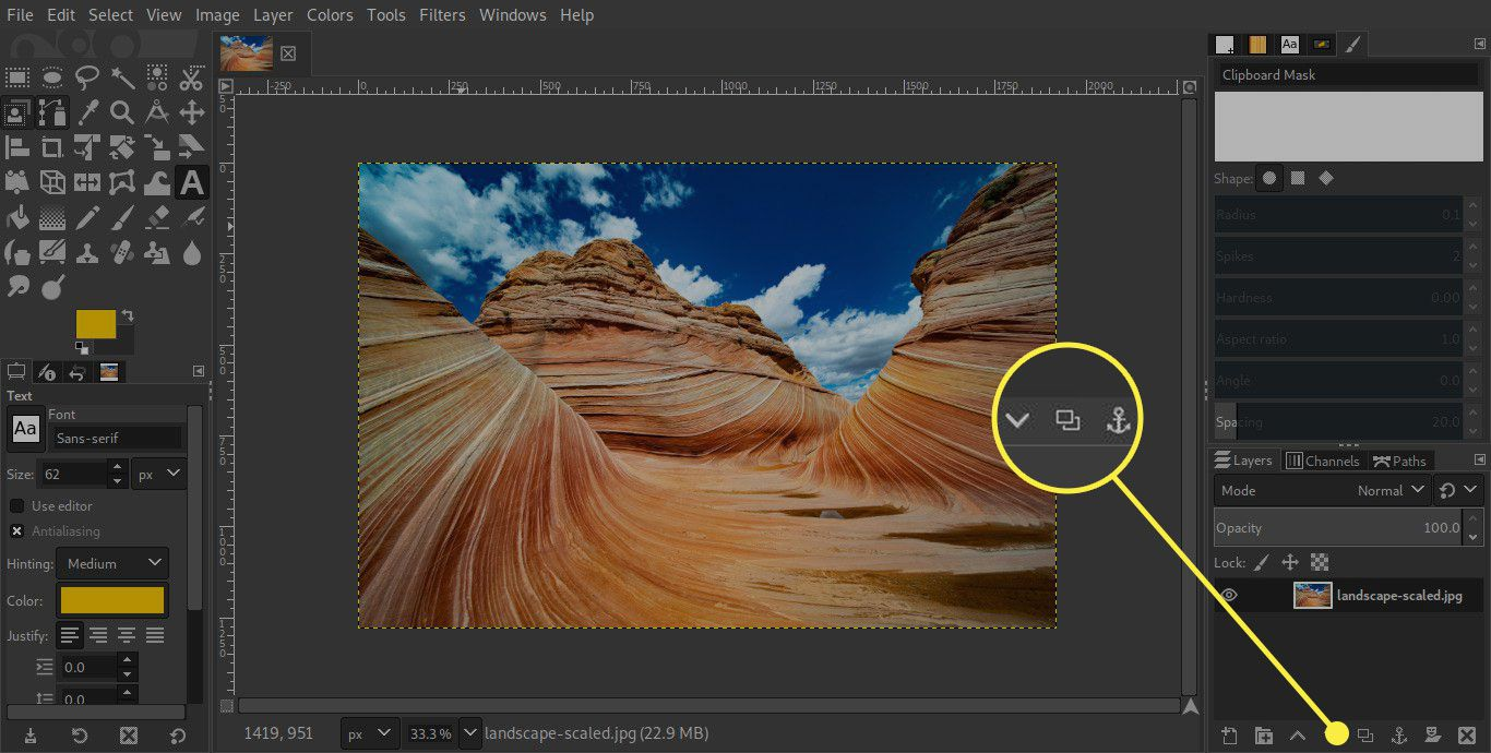 A screenshot of GIMP with the Duplicate Layer button highlighted