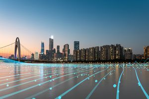 City skyline and superimposed electric grid illustration