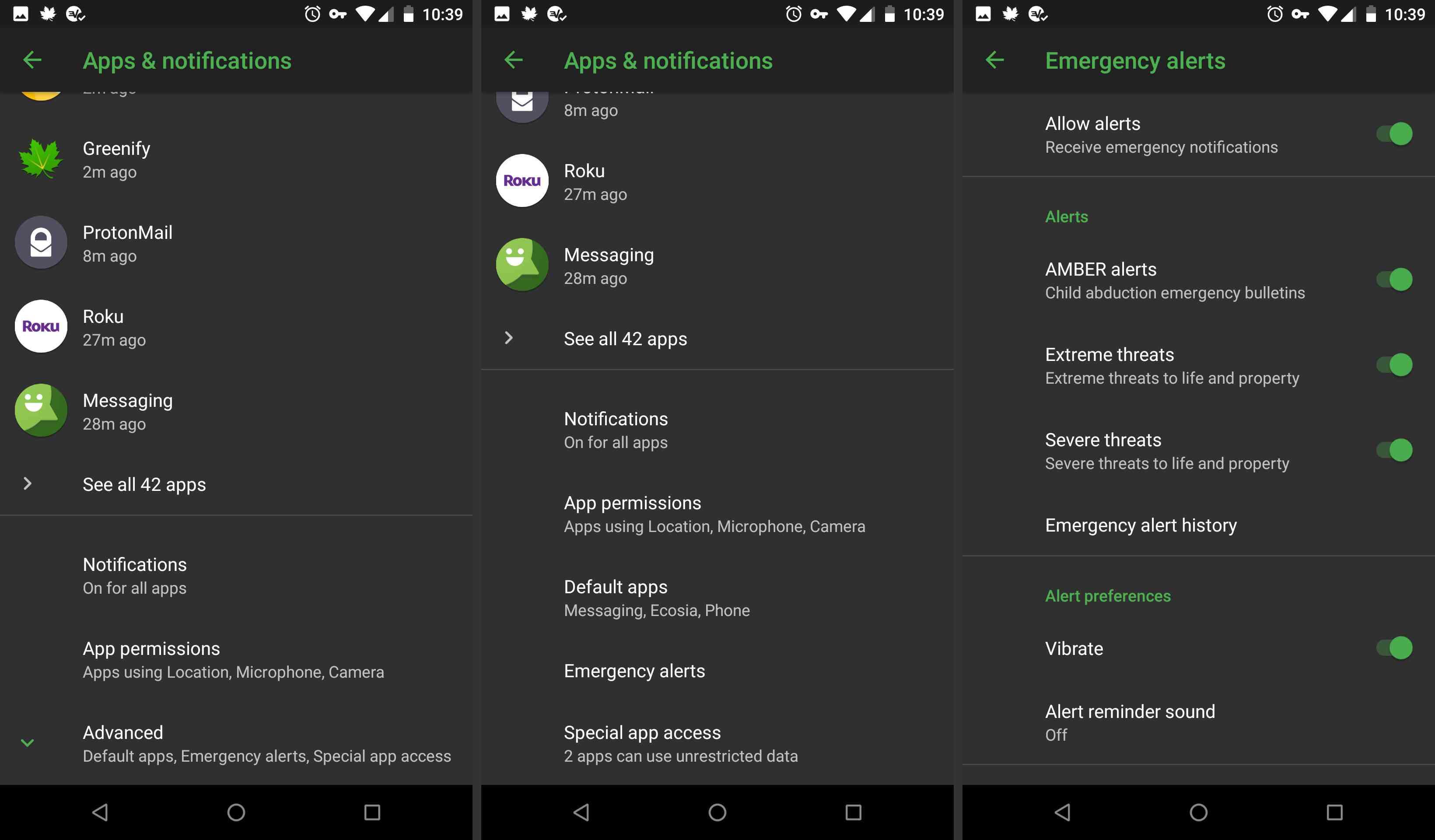Android alert settings