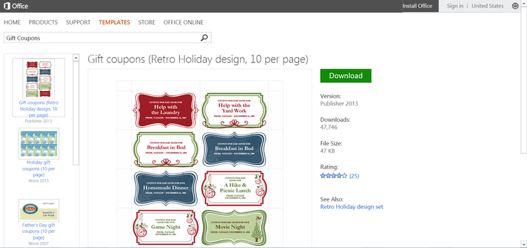 Microsofts best free diy christmas templates retro gift coupons template or printable for microsoft publisher spiritdancerdesigns