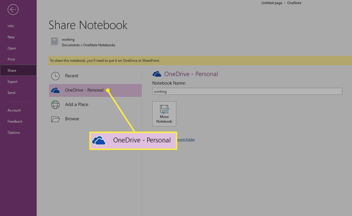 The OneNote Share Notebook screen with the OneDrive account highlighted