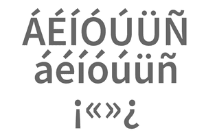 Screenshot of accented letters