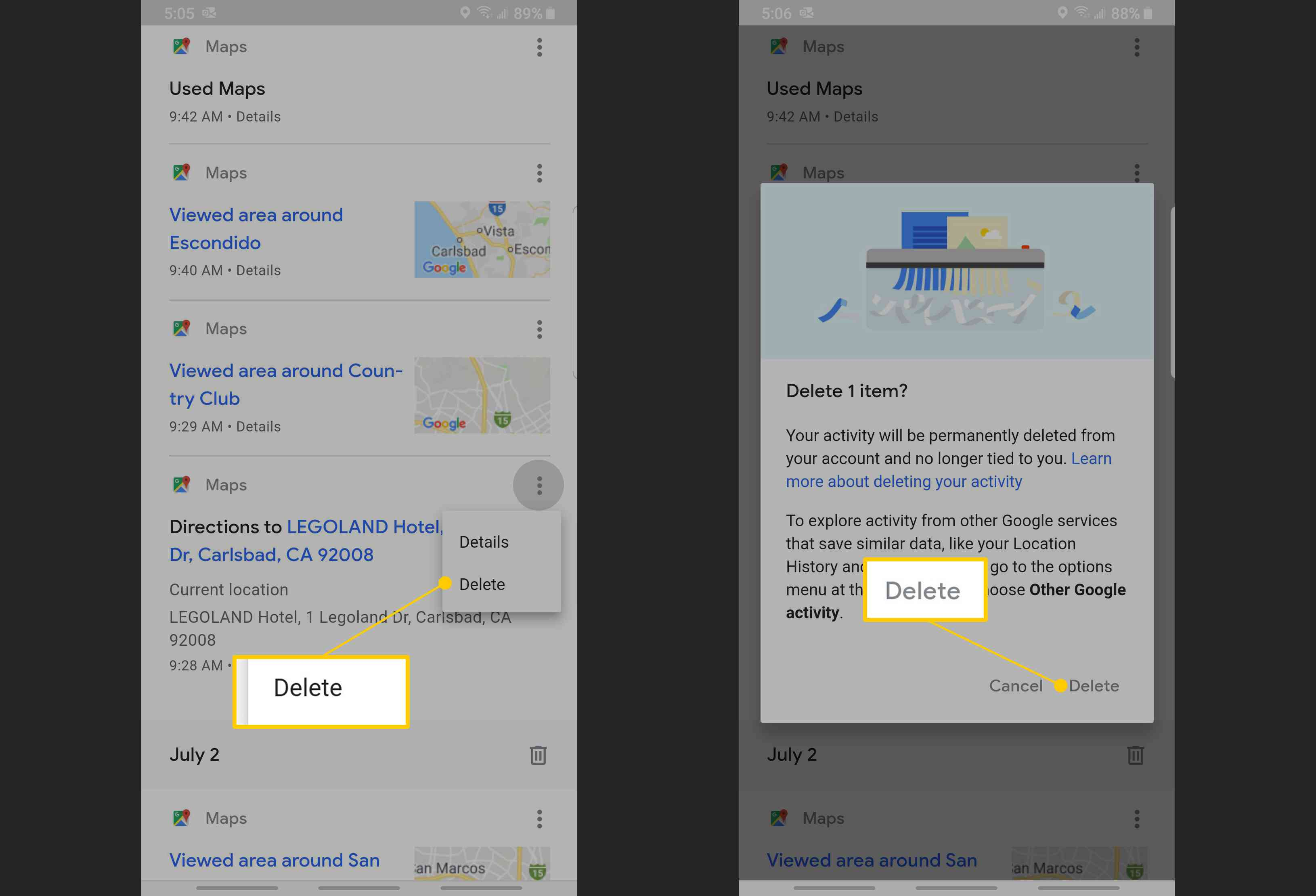 How to delete search history on google maps
