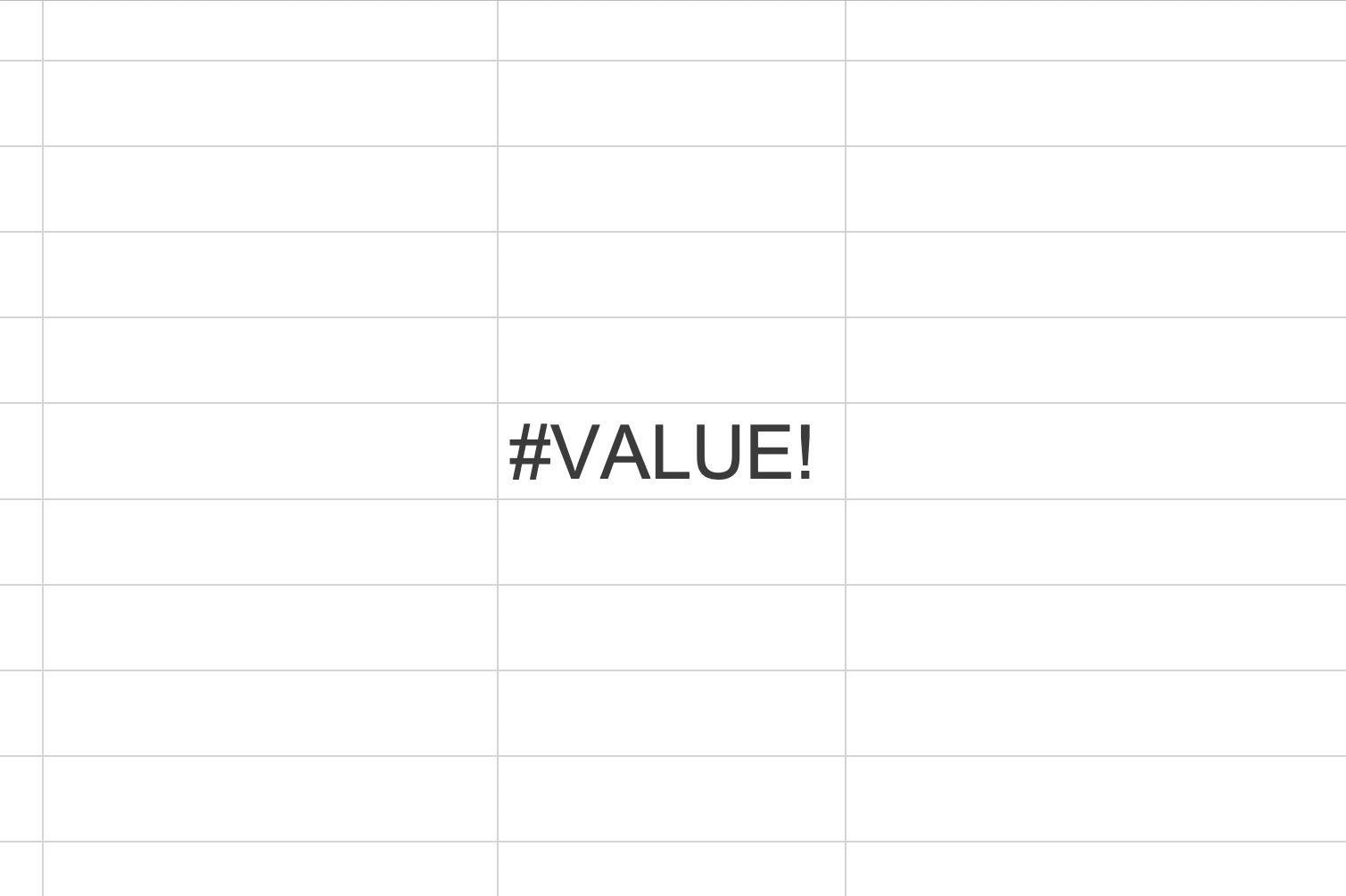 Excel Screenshot, Value Error
