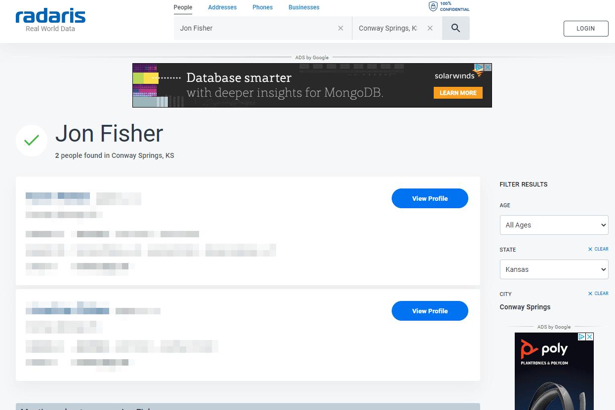Radaris results for Jon Fisher