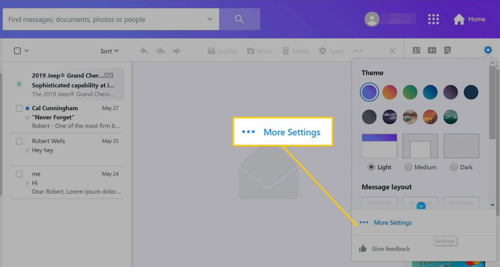 More Settings button in Yahoo Mail