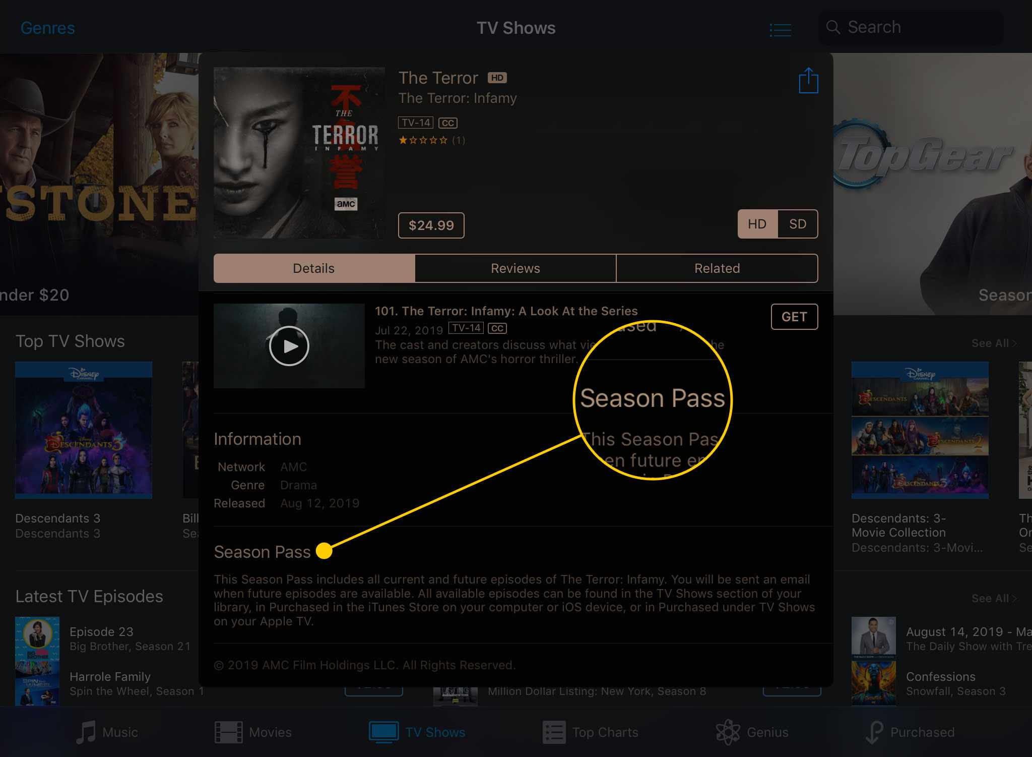 A TV show's page in the iTunes Store app with the