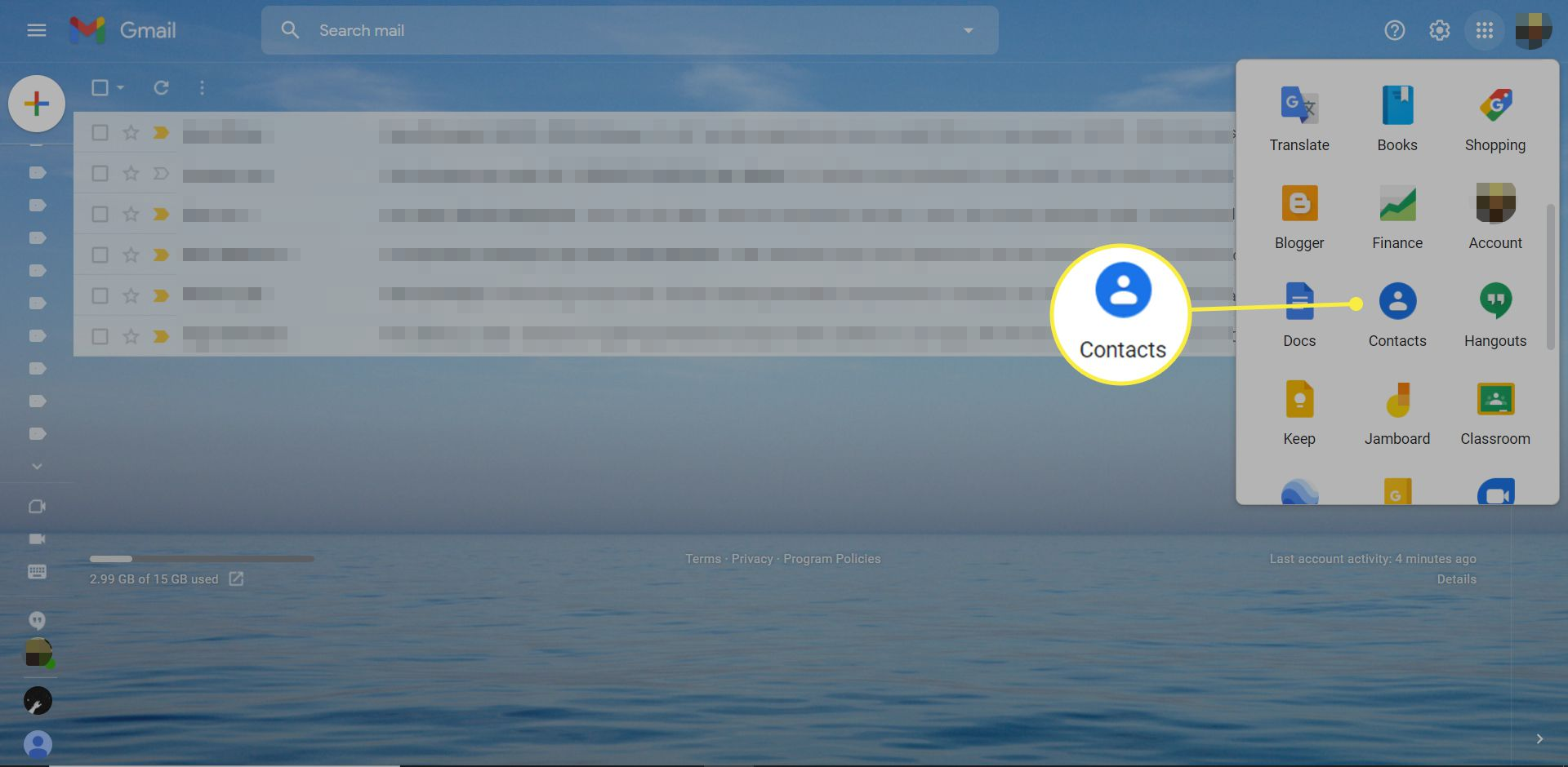 The Google Apps window in Gmail with the Contacts app highlighted
