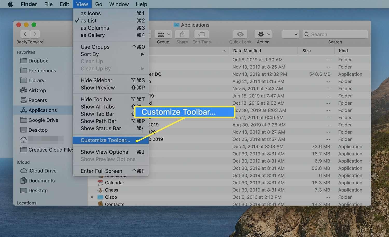Finder > Customize Toolbar
