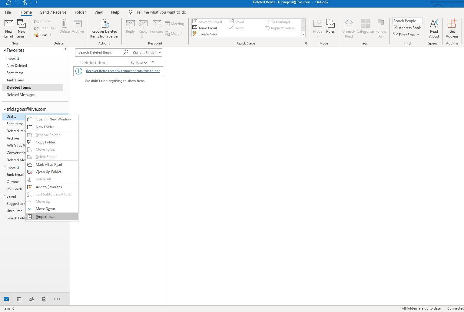 Screenshot of right-click menu in Outlook navigation pane
