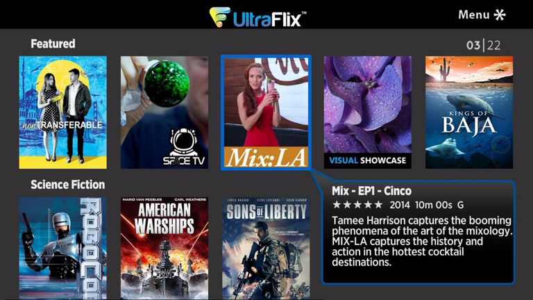 UltraFlix Roku channel menu example