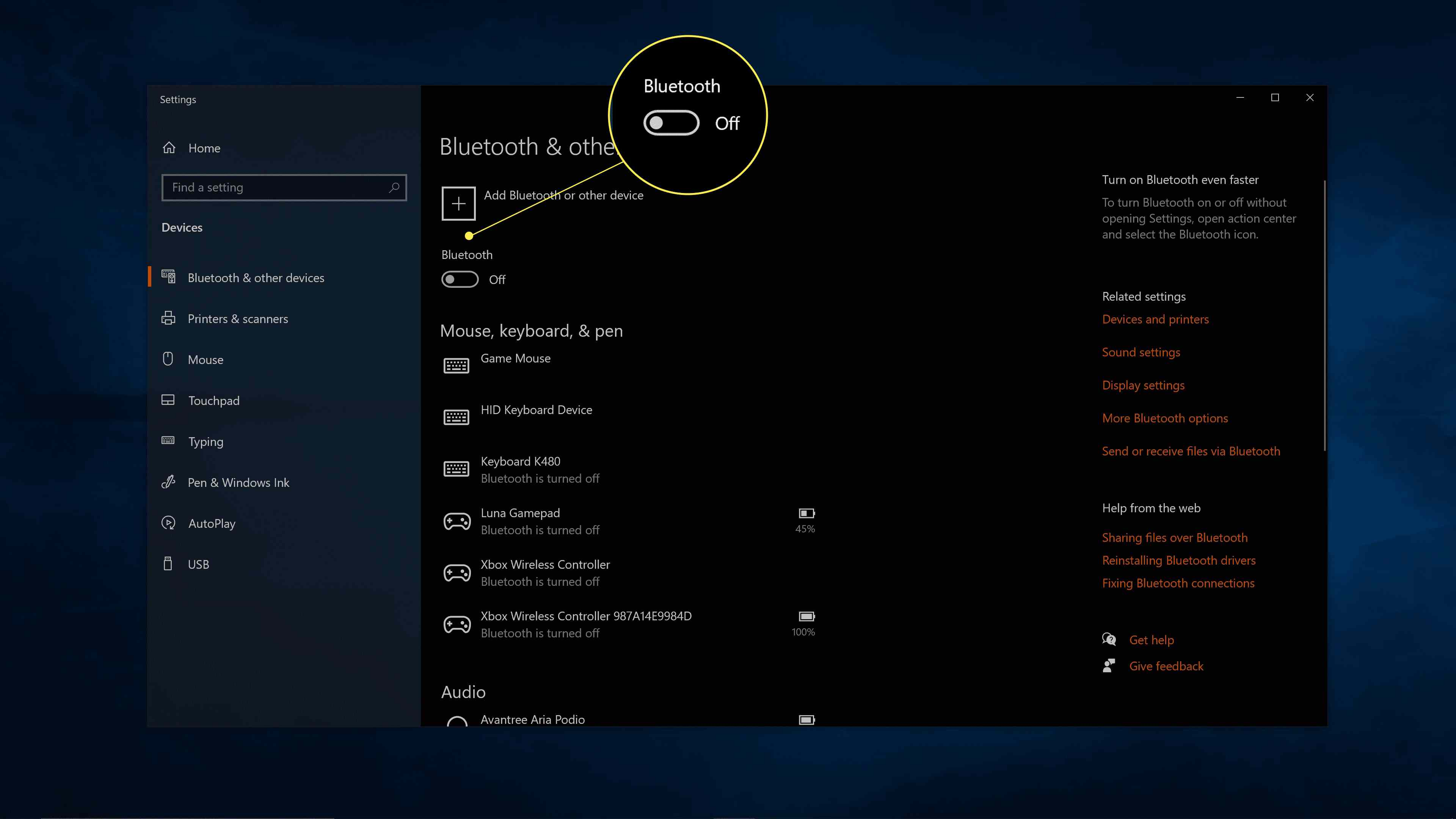 The Bluetooth Off toggle highlighted in Windows 10 Bluetooth settings.