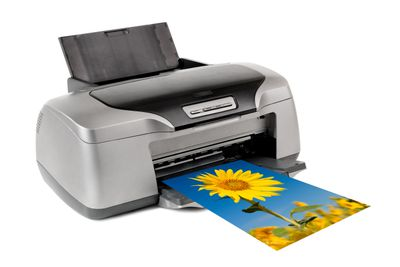 Inkjet printer with image of sunflower printing out