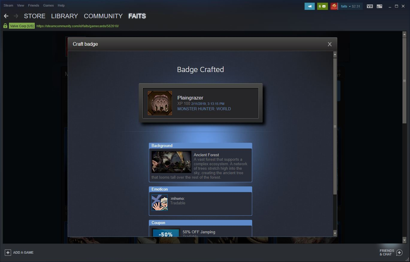 A crafted badge in Steam.