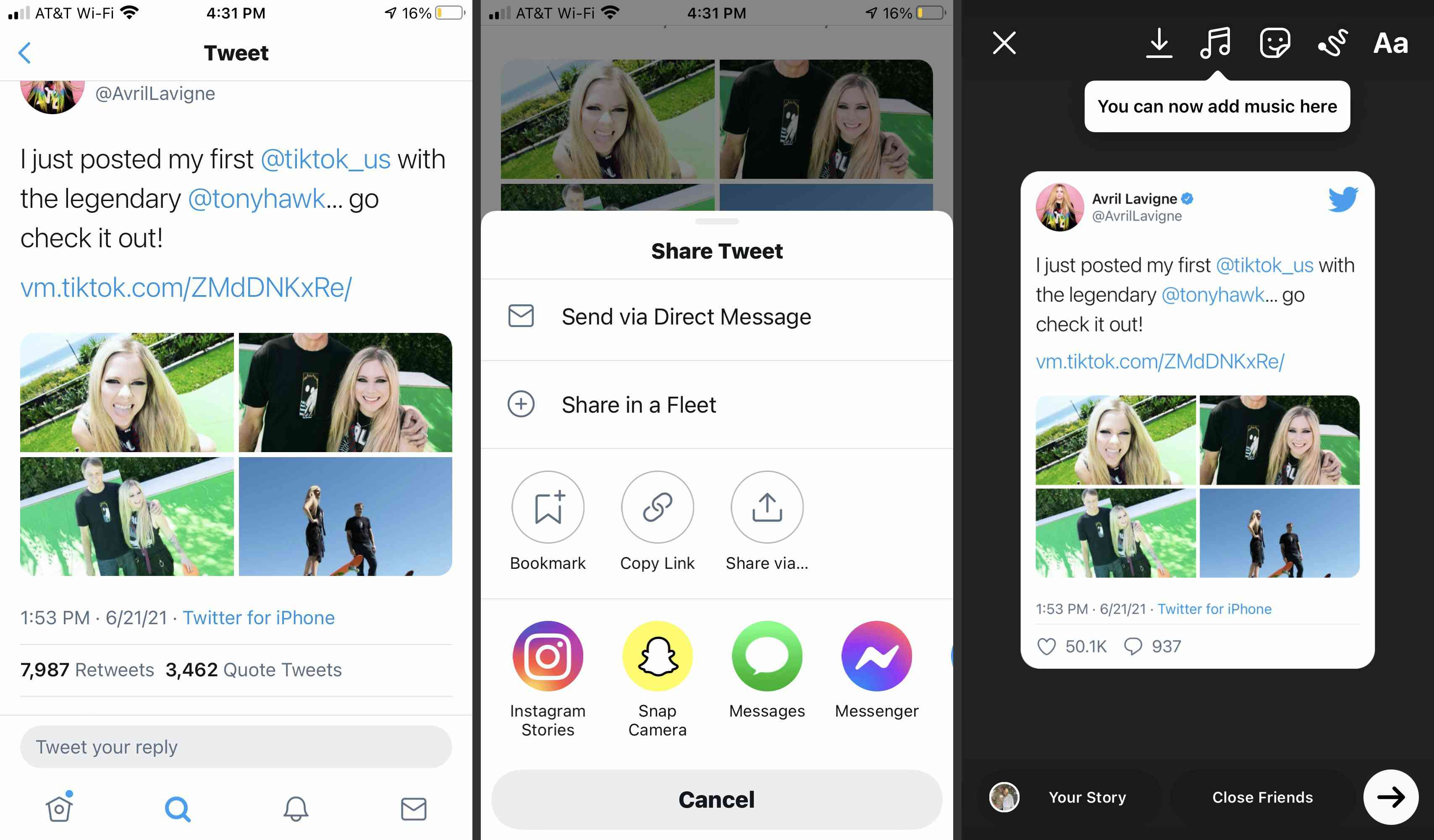 Twitter tweet with the Share to Instagram Stories feature shown