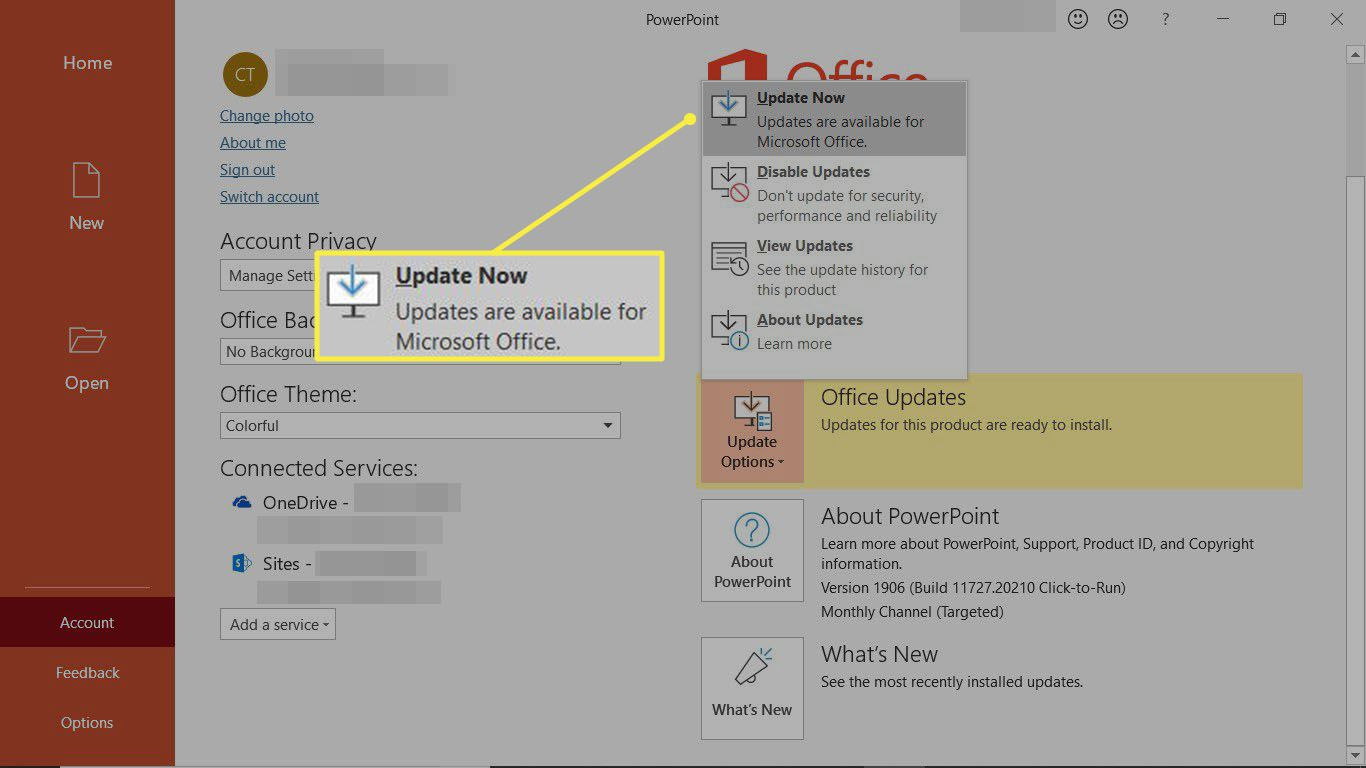 Get Office Updates to update OneNote and the other Office apps