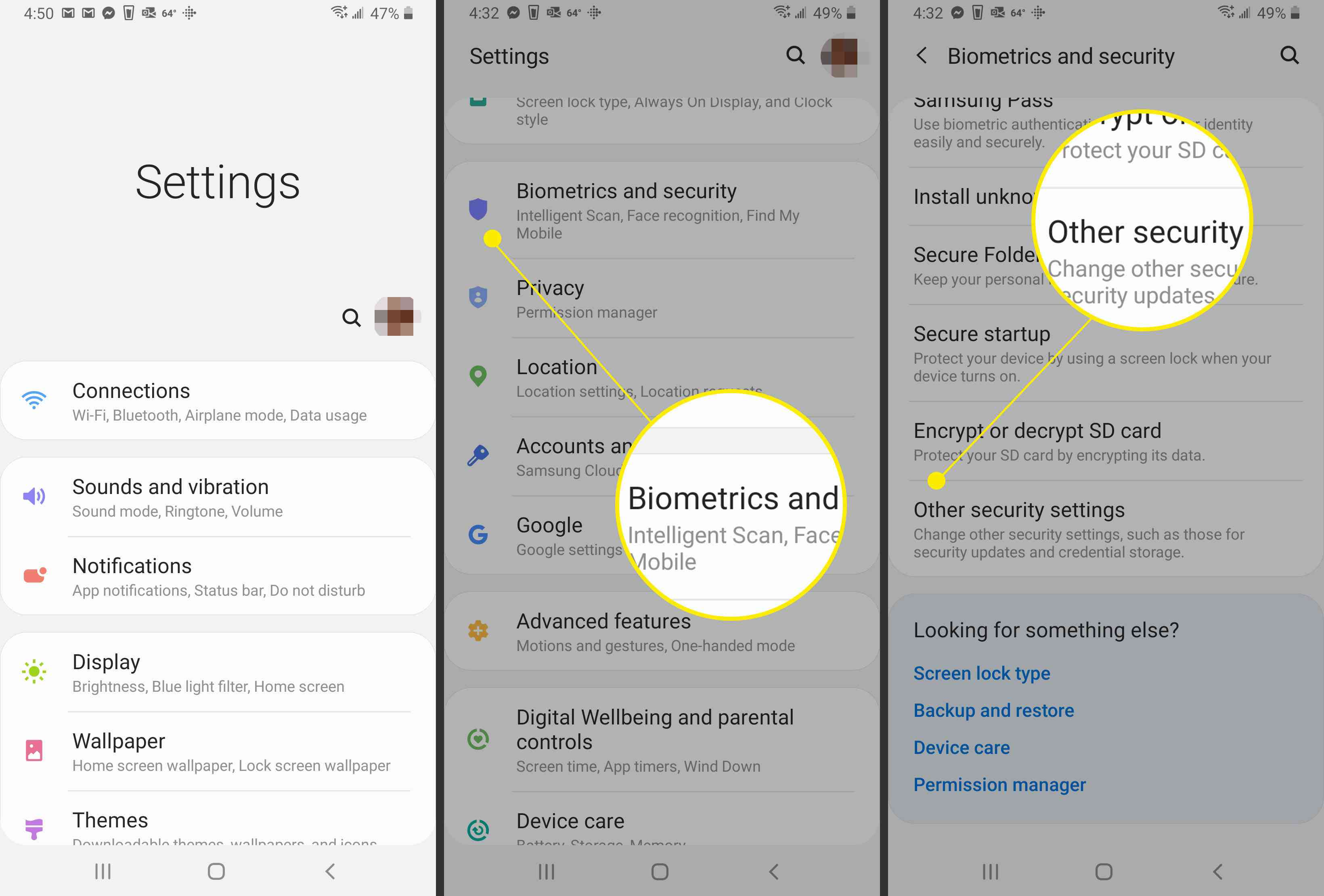 Navigating to other security settings in Android 10.0