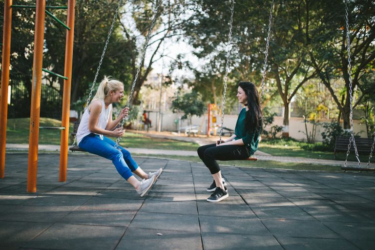 Two women swinging in park