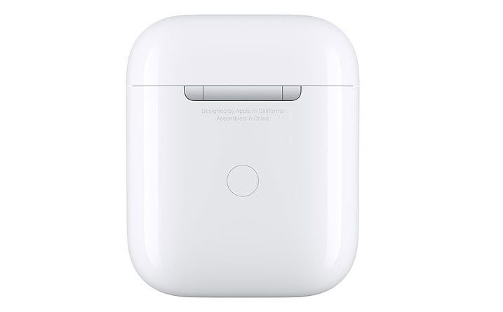 A image of the back of the AirPods charging case.
