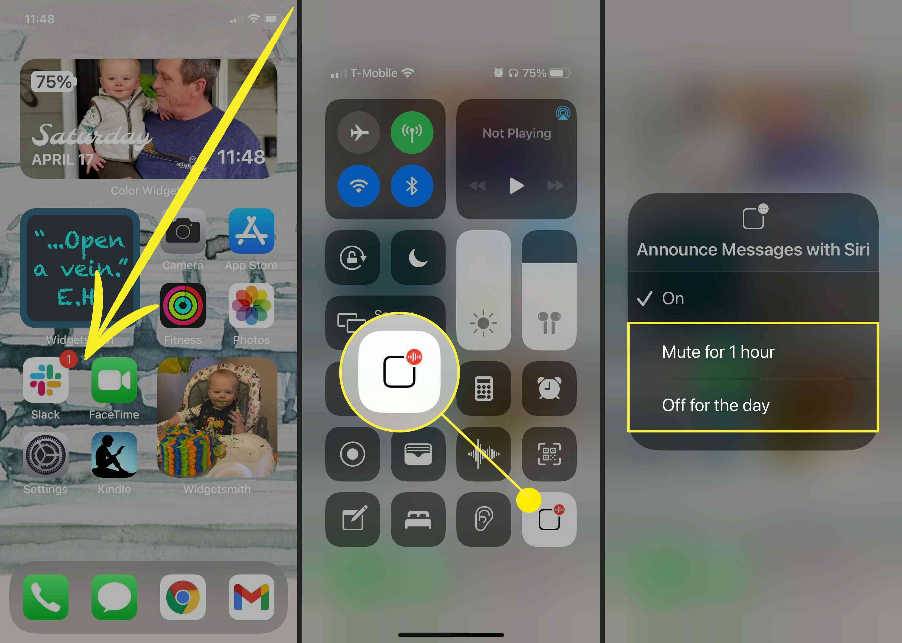 Screenshots showing how to turn off Announce Messages with Siri from the Control Center on iOS.