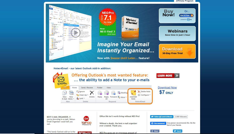 Screenshot of NEO website