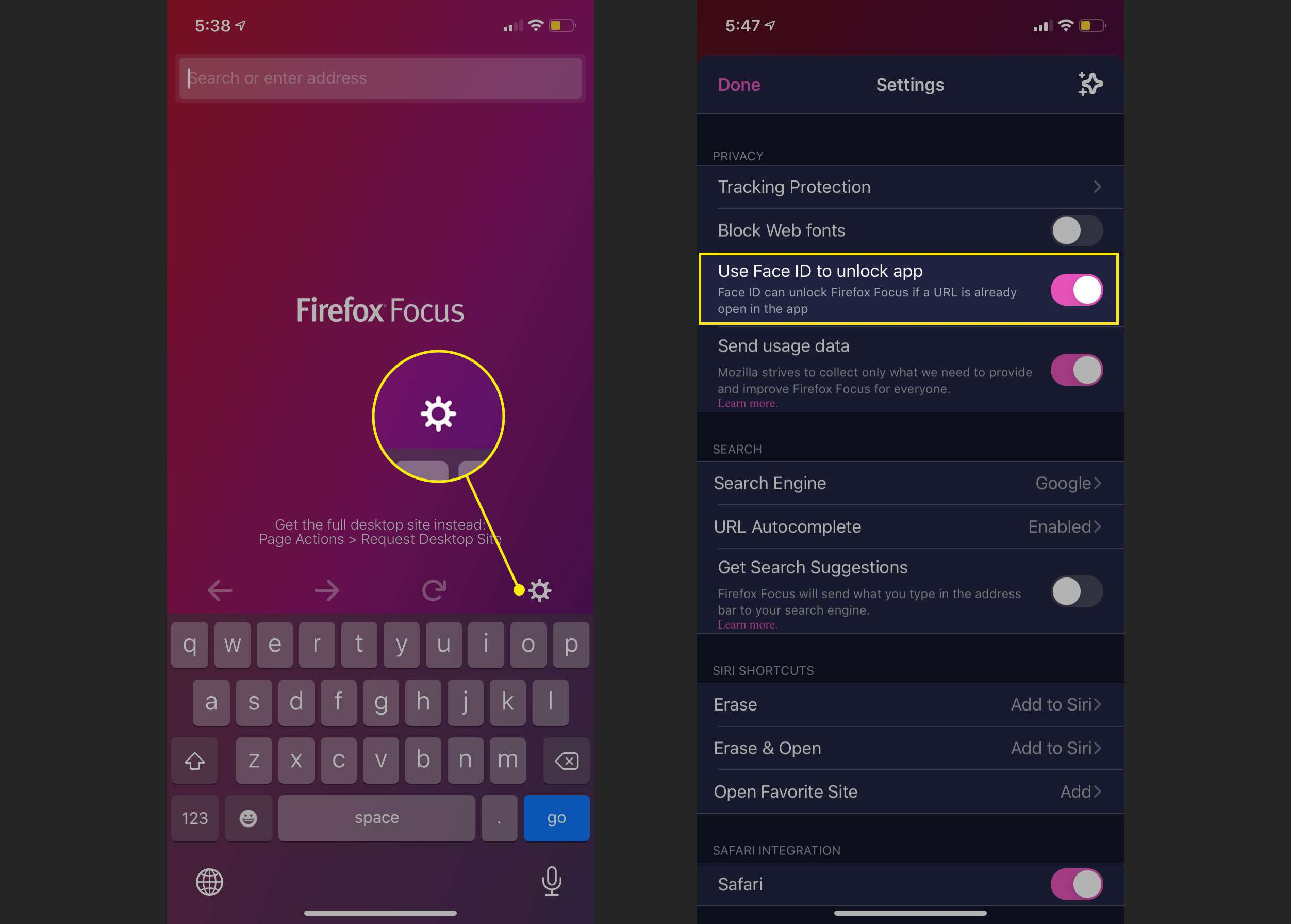 Activating Face ID for Firefox Focus