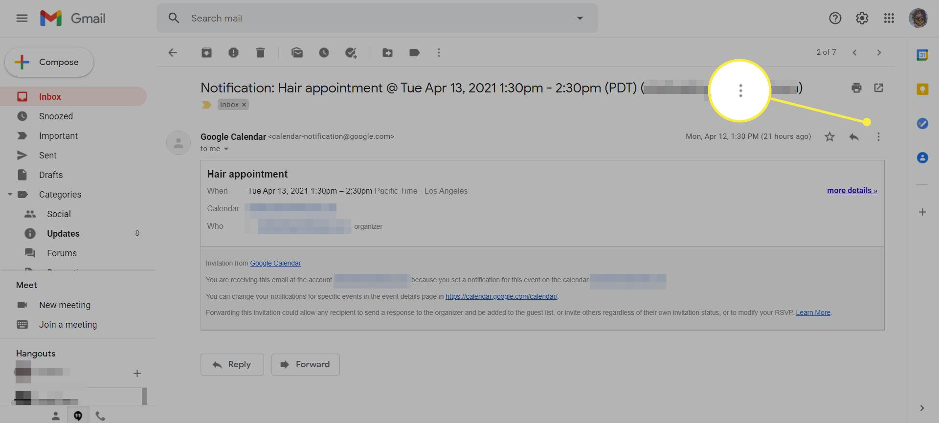 An email in Gmail with the More menu icon highlighted