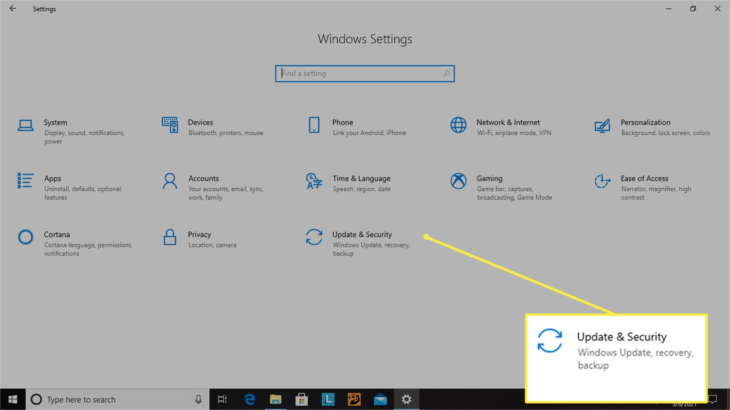 Update and Security option from Windows Settings menu