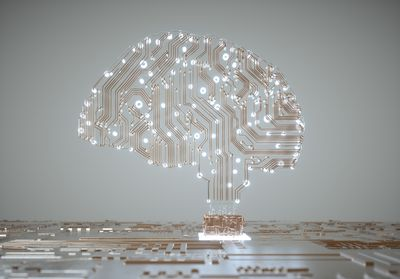 A model of a human brain made from computer circuitry to indicate artificial intelligence.