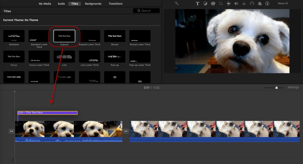 Dragging iMovie titles to movie timeline