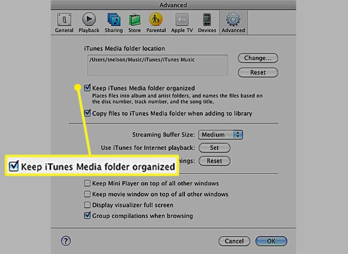 iTunes Advanced preferences with check mark for Keep iTunes Media folder organized