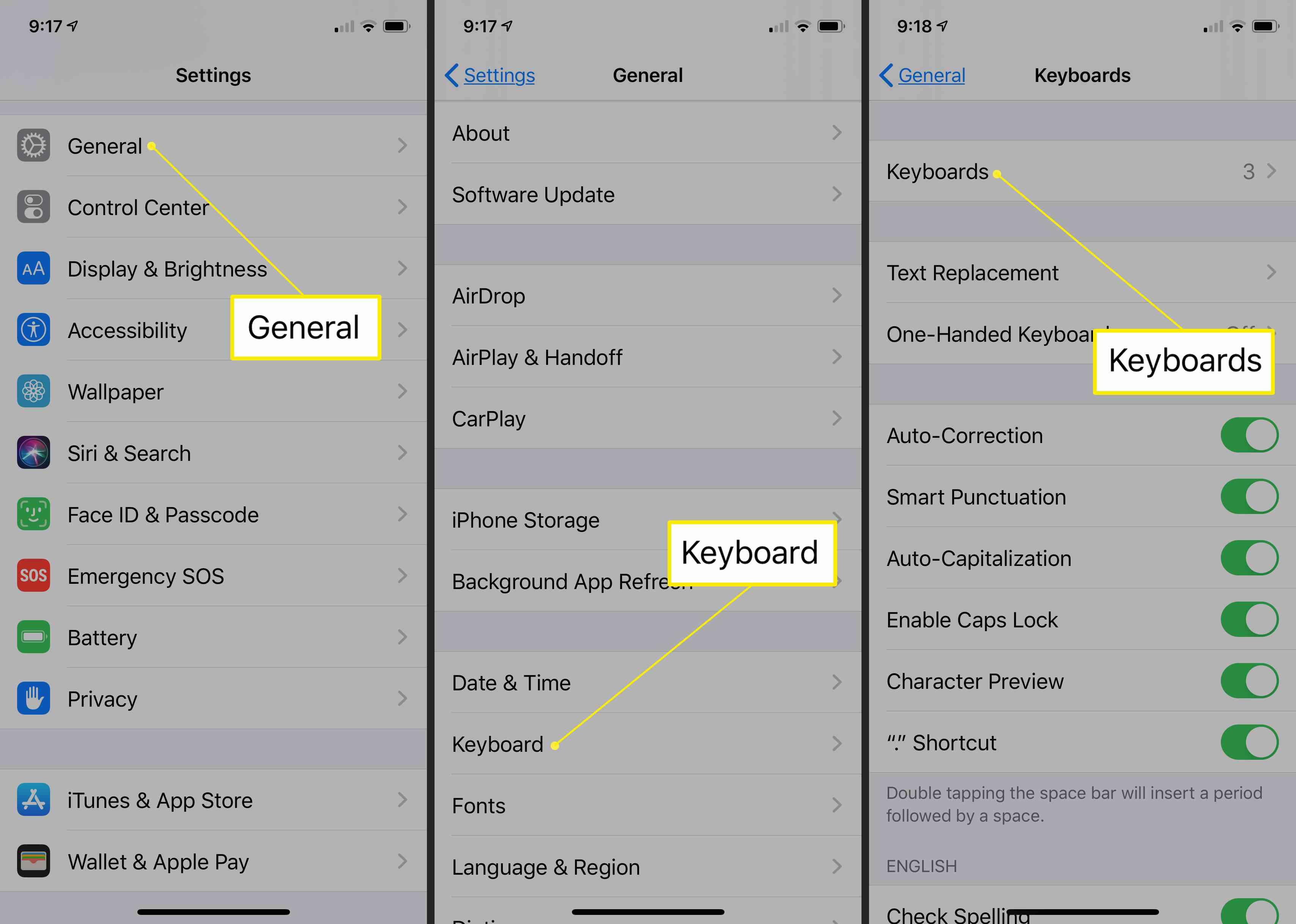 Keyboard settings in iOS