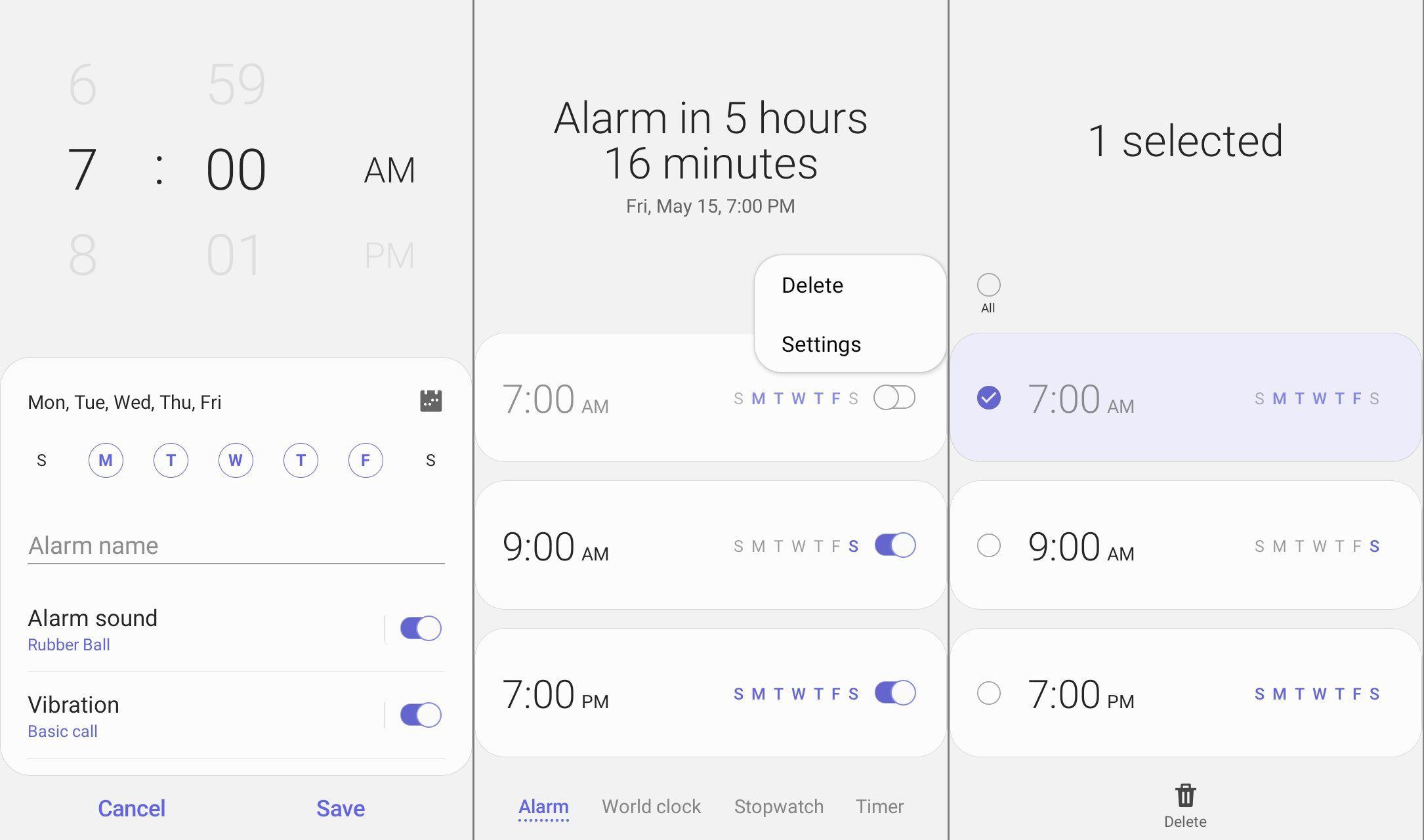 Android Clock app alarm settings
