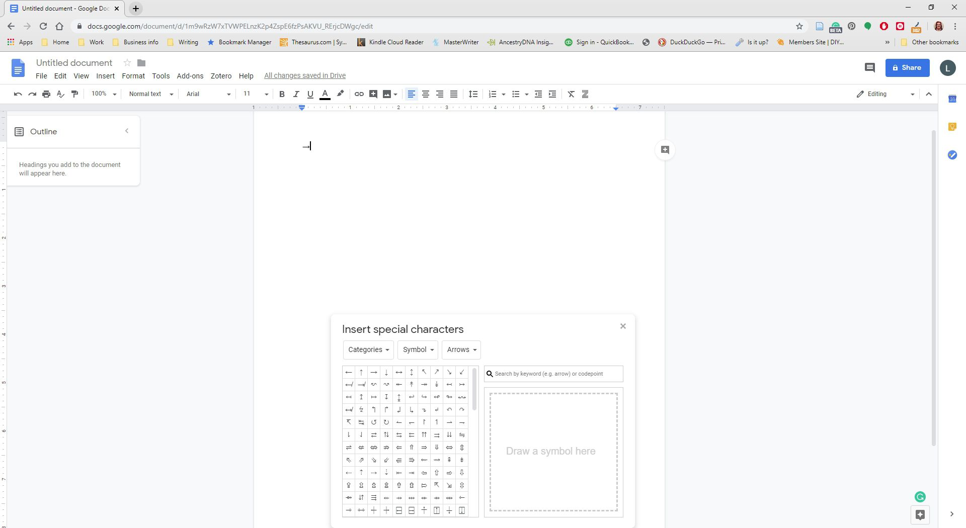 A character has been inserted into a Google Doc.