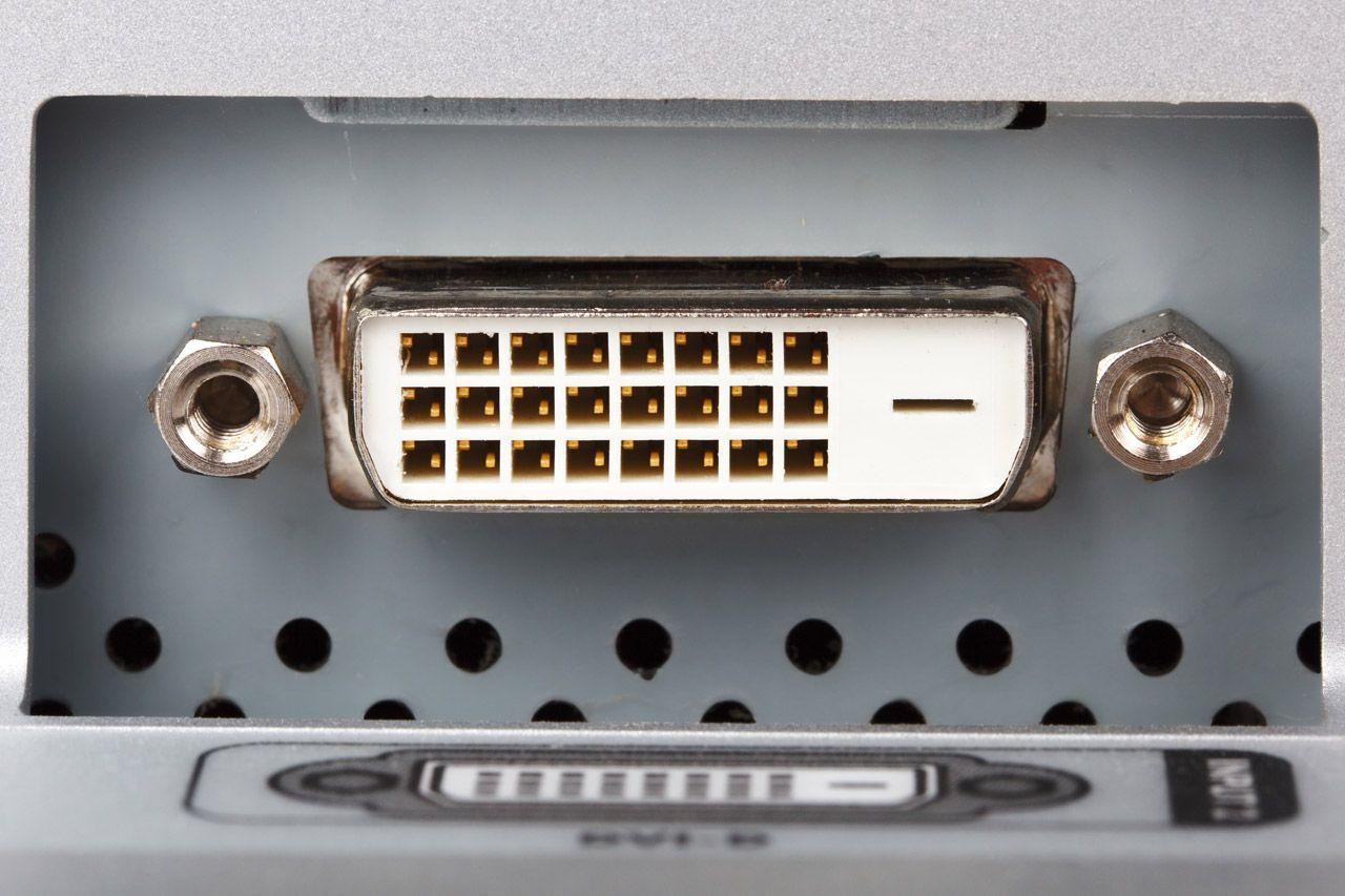 A DVI connector port