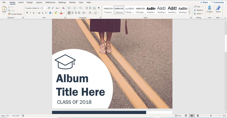 Microsoft Word graduation album photo template