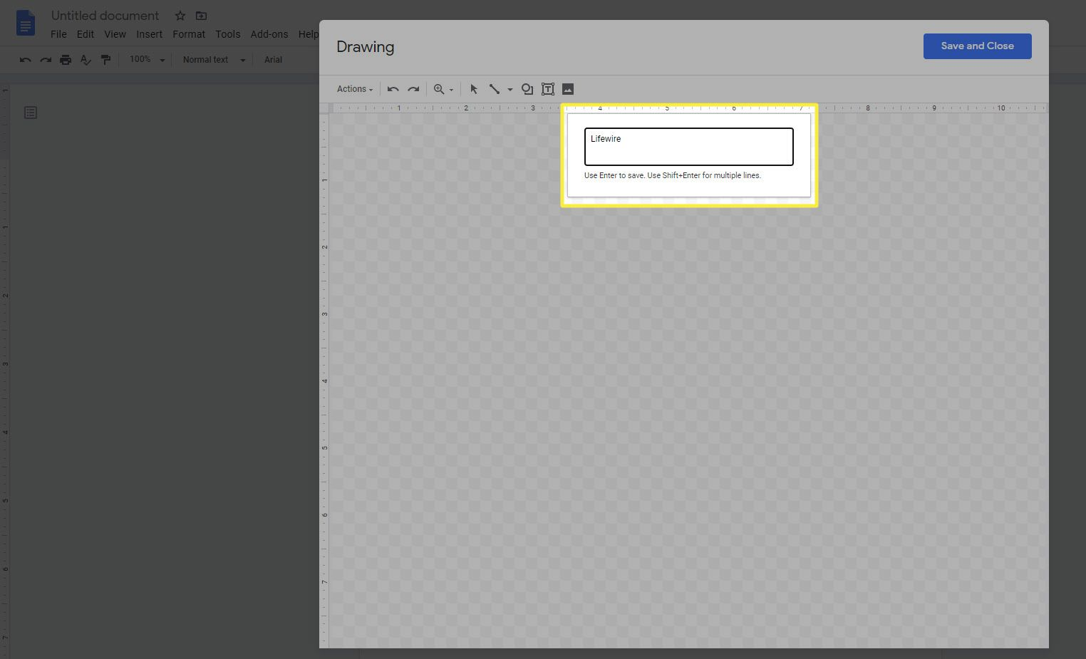 The word art text box in Google Docs.