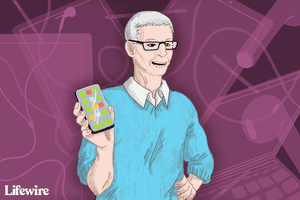 Tim Cook holding an iPhone at a keynote