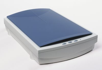 Flatbed scanner, elevated view