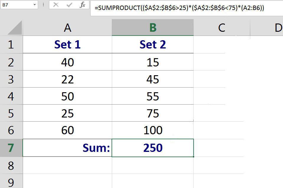 sumif between 2 values excel