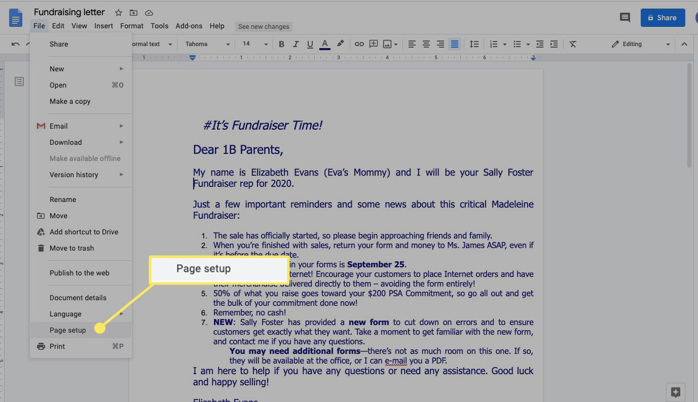 Select File and Page Setup in Google Docs to set margins