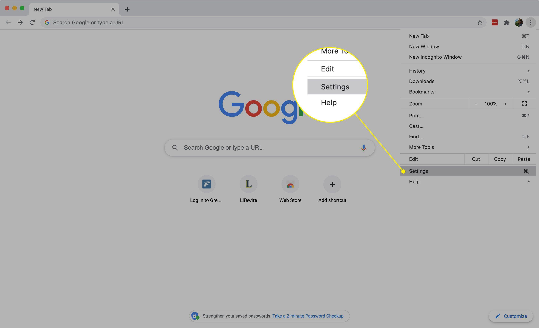 Settings in Chrome