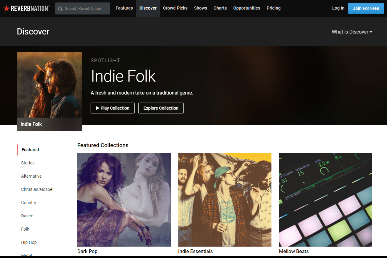 Screenshot of Indie Folk and featured collections on ReverbNation