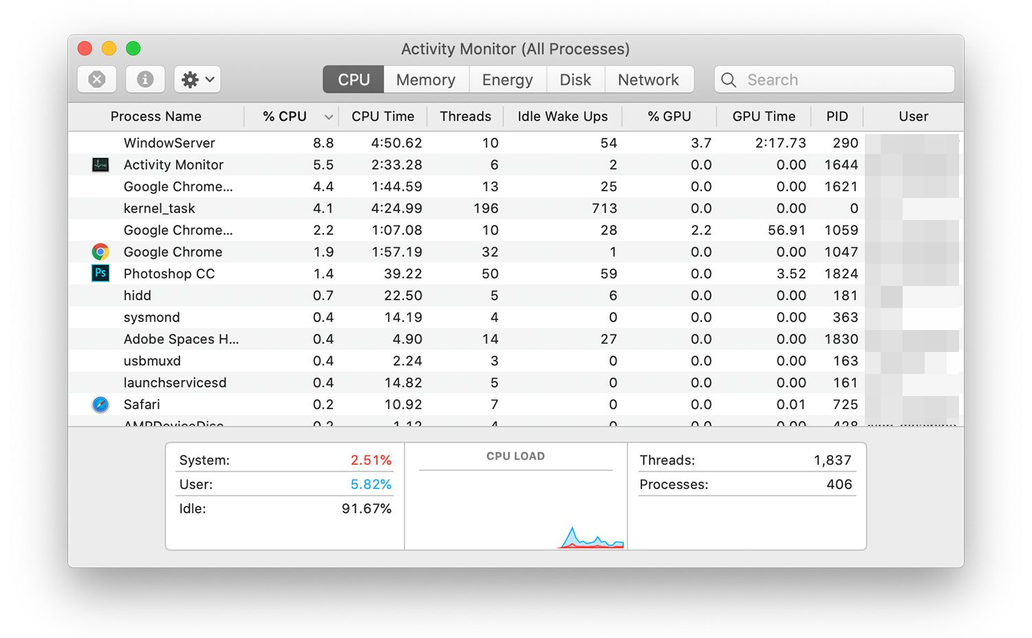 Activity Monitor showing five tabs of processes