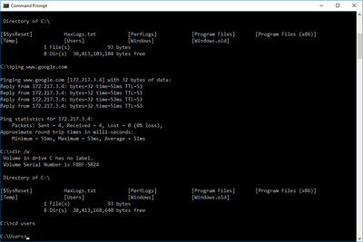Screenshot of the Command Prompt in Windows 10