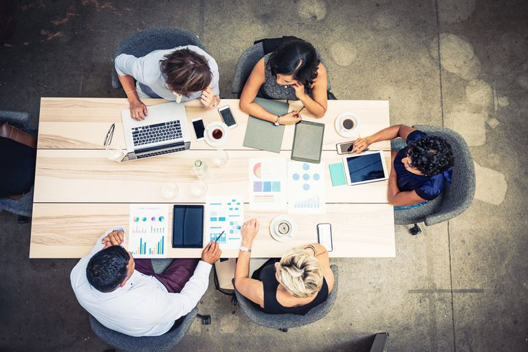 group collaborating in an office